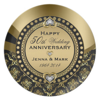 50th Wedding Anniversary Floral Black & Gold 4a Dinner Plates