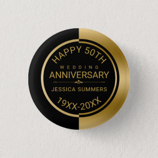 50th Wedding Anniversary Geometric Black & Gold 1 Inch Round Button