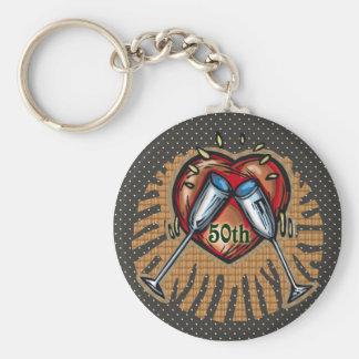 50th Wedding Anniversary Gifts Basic Round Button Keychain