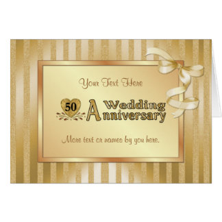 50th Wedding Anniversary - Gold Card