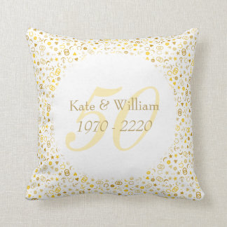50th Wedding Anniversary Gold Confetti Throw Pillow