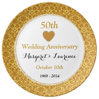 50th Wedding Anniversary Gold Damask and Lace V07 Porcelain Plates