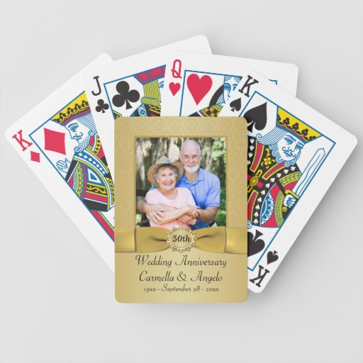 50th Wedding Anniversary Gold Damask Playing Cards