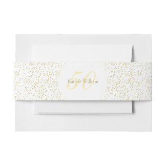 50th Wedding Anniversary Gold Dust Confetti Invitation Belly Band