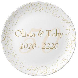 50th Wedding Anniversary Gold Dust Confetti Plate