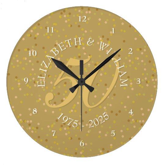 50th Wedding Anniversary Gold Dust Confetti Wall Clock