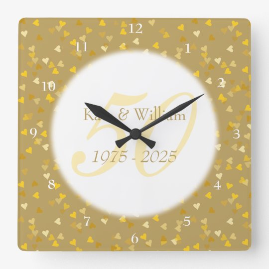 50th Wedding Anniversary Gold Hearts Confetti Square Wall Clock