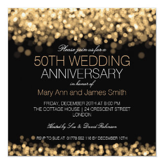 "50th Wedding Anniversary Gold Lights 5.25"" Square Invitation Card"