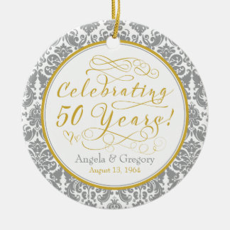 50th Wedding Anniversary Gold Silver Damask Hearts Double-Sided Ceramic Round Christmas Ornament