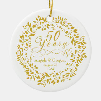 50th Wedding Anniversary Gold Wreath Hearts 50 Double-Sided Ceramic Round Christmas Ornament