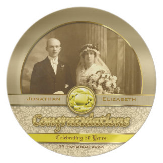 50th Wedding Anniversary Golden Topaz Damask Photo Party Plate