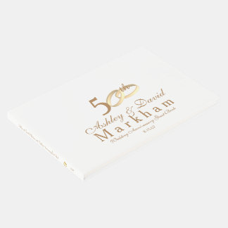 50th Wedding Anniversary Guest Book- Gold Rings Guest Book