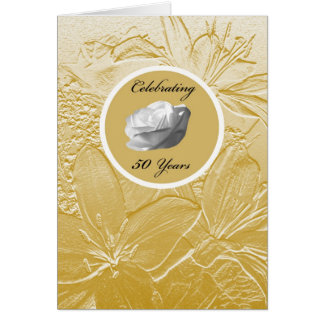 50th Wedding Anniversary Invitation -- Golden