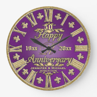 50th Wedding Anniversary Large Clock
