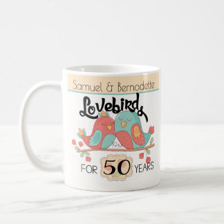 50th Wedding Anniversary Lovebirds Custom Coffee Mug