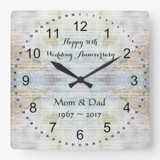 50th Wedding Anniversary Marble Pattern Square Wall Clock
