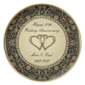 50th Wedding Anniversary Melamine Plate