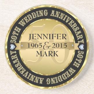 50Th Wedding Anniversary Metallic Gold & Black 2 Beverage Coaster