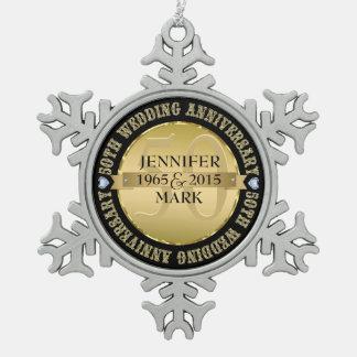 50Th Wedding Anniversary Metallic Gold & Black 2 Ornament