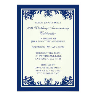 "50th Wedding Anniversary Navy Flourish Scroll 5"" X 7"" Invitation Card"