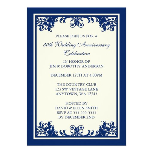 50th Wedding Anniversary Navy Flourish Scroll Custom Invites