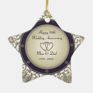 50th Wedding Anniversary Double-Sided Star Ceramic Christmas Ornament