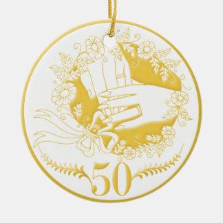 50th wedding anniversary ornament Golden wedding