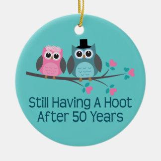50th Wedding Anniversary Owls Round Ceramic Ornament
