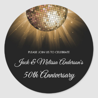 50th Wedding Anniversary Party Gold Disco Ball Classic Round Sticker