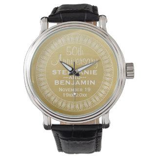 50th Wedding Anniversary Personalized gold Wristwatch