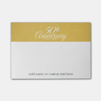 50th Wedding Anniversary Personalized Golden Post-it Notes