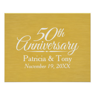 50th Wedding Anniversary Personalized Golden Poster
