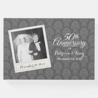 50th Wedding Anniversary Photo Damask Pattern Guest Book