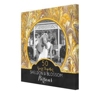 50th Wedding Anniversary Photo Gold 50 Years Canvas Print