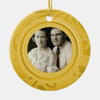 50th Wedding Anniversary Photo | Gold Personalized Round Ceramic Ornament
