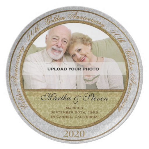 50th Wedding Anniversary Photo Plate Party Plates