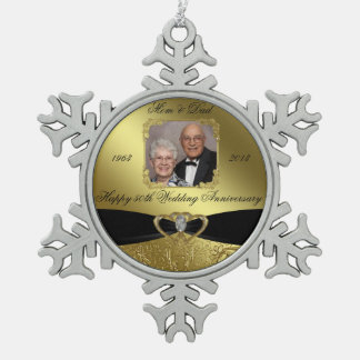 50th Wedding Anniversary Photo Snowflake Ornament