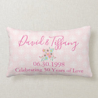 50th Wedding Anniversary Pink and Silver Lumbar Pillow