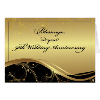 50th Wedding Anniversary Religious, Black and Gold Card