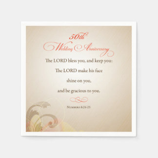 50th Wedding Anniversary, Religious Lord Bless Paper Napkins