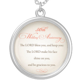 50th Wedding Anniversary, Religious Lord Bless Round Pendant Necklace