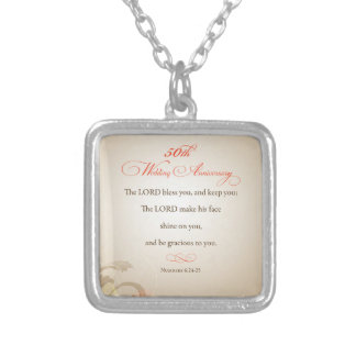 50th Wedding Anniversary, Religious Lord Bless Square Pendant Necklace