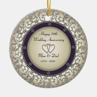 50th Wedding Anniversary Round Ceramic Ornament