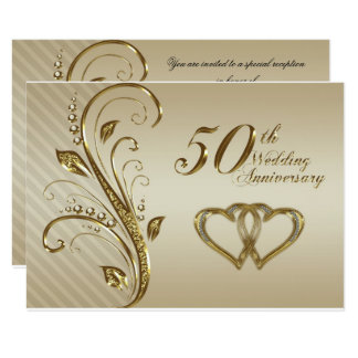 "50th Wedding Anniversary RSVP Card 3.5"" X 5"" Invitation Card"