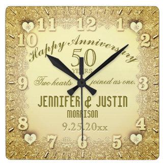 50th Wedding Anniversary Square Wall Clock