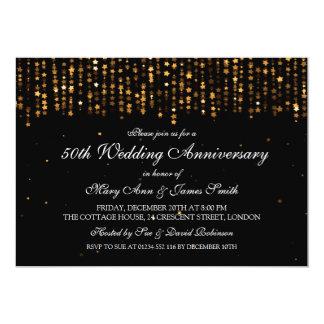 50th Wedding Anniversary Star Confetti Gold Card