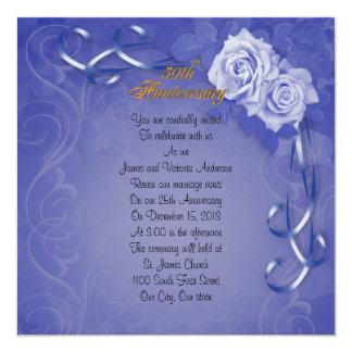 """50th Wedding anniversary vow renewal blue roses 5.25"""" Square Invitation Card"""