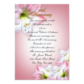 "50th Wedding anniversary vow renewal pink amarylis 5"" X 7"" Invitation Card"
