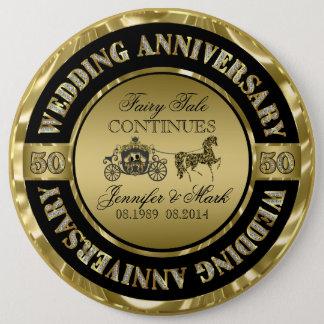 50th Wedding Anniversary-Wedding Horse & Carriage 6 Inch Round Button