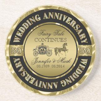 50th Wedding Anniversary-Wedding Horse & Carriage Coaster
